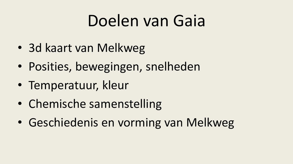 Doelen van Gaia • 3d kaart van Melkweg • Positi...