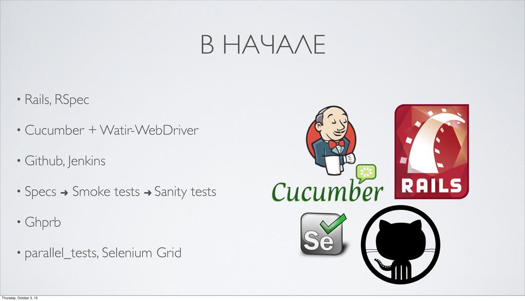 В НАЧАЛЕ • Rails, RSpec • Cucumber + Watir-WebD...