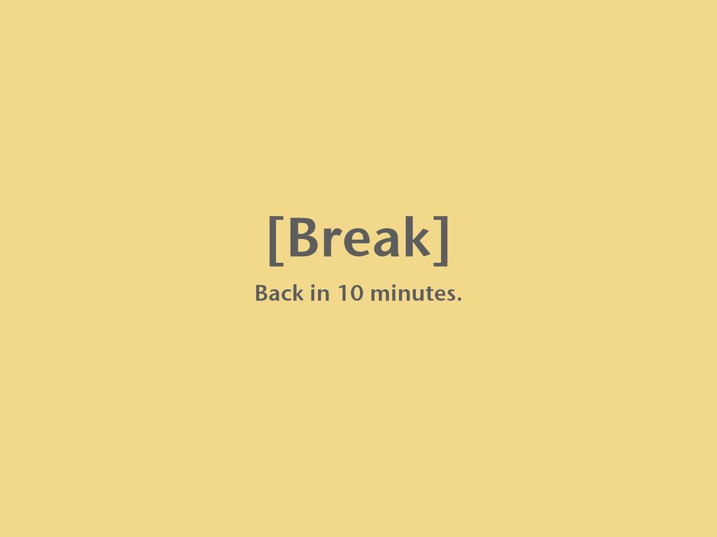 [Break] Back in 10 minutes.