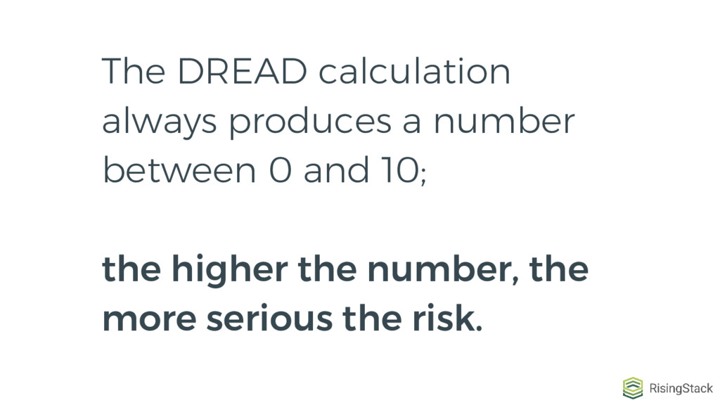 The DREAD calculation always produces a number ...