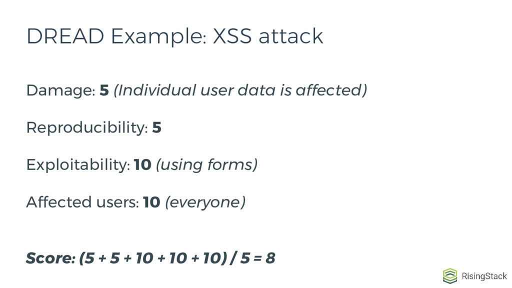 DREAD Example: XSS attack Damage: 5 (Individual...