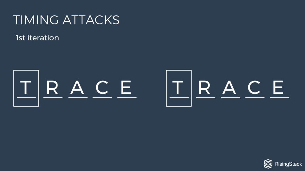 T R A C E T R A C E 1st iteration TIMING ATTACKS