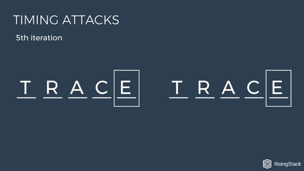 T R A C E T R A C E 5th iteration TIMING ATTACKS