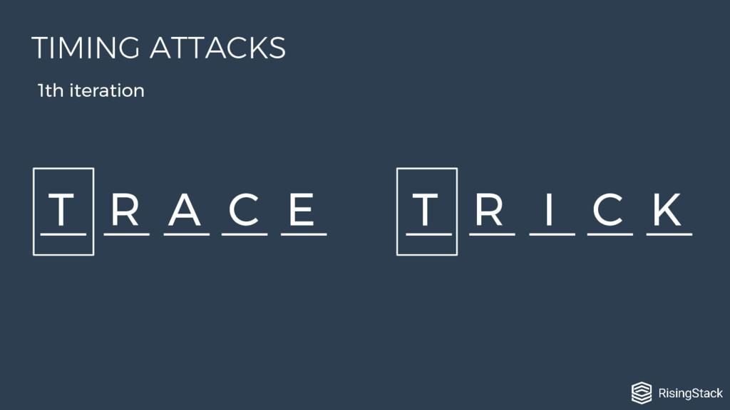 T R A C E T R I C K 1th iteration TIMING ATTACKS