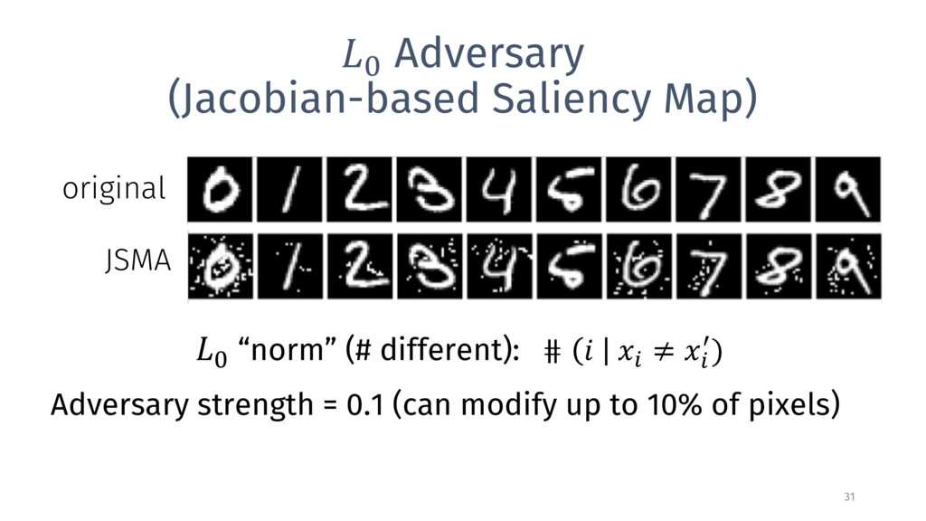 9 Adversary (Jacobian-based Saliency Map) 31 or...