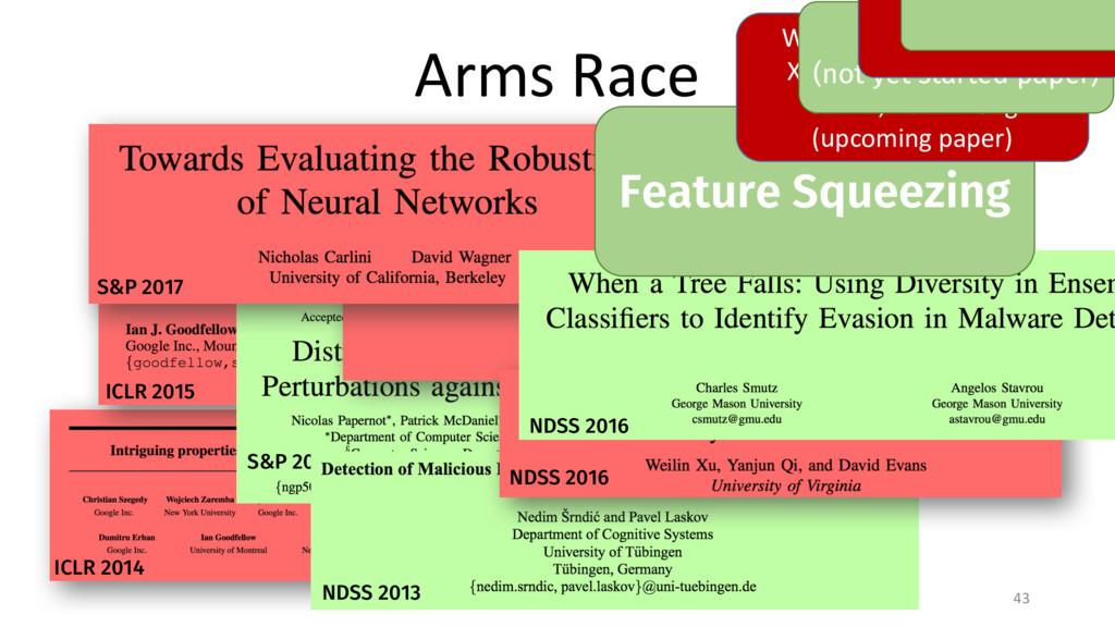 Arms Race 43 ICLR 2014 ICLR 2015 S&P 2016 S&P 2...