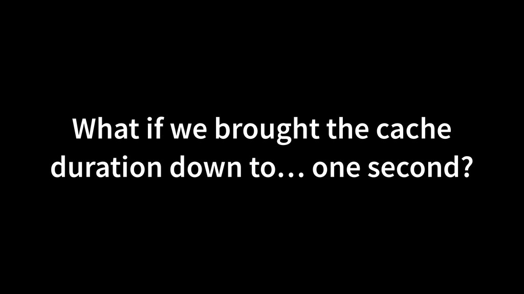 What if we brought the cache duration down to… ...