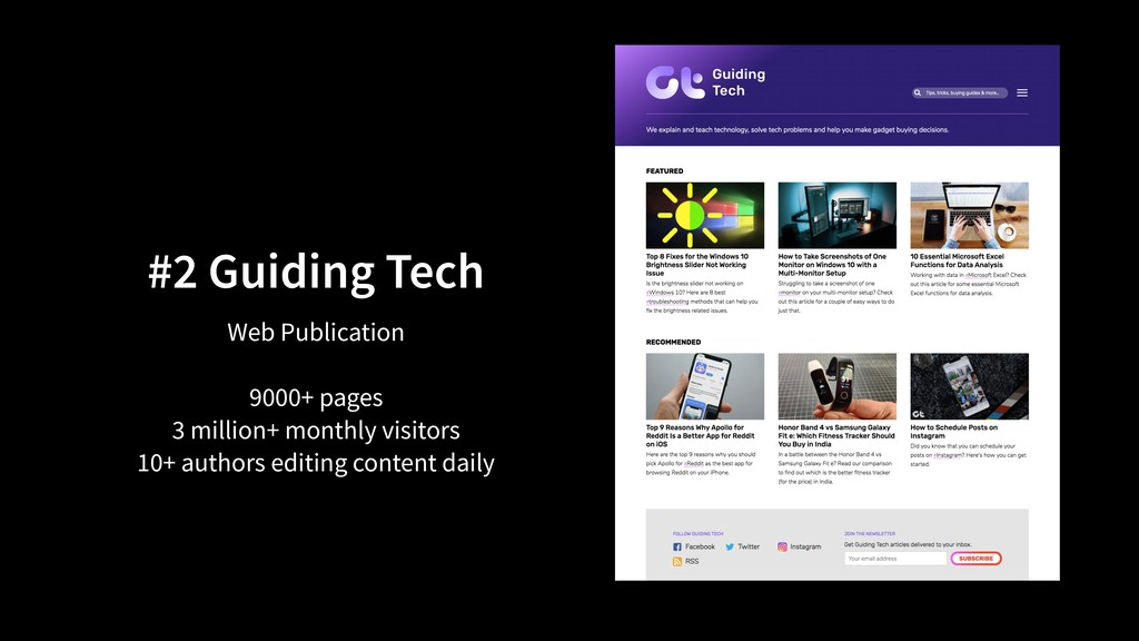 #2 Guiding Tech Web Publication 9000+ pages 3 m...