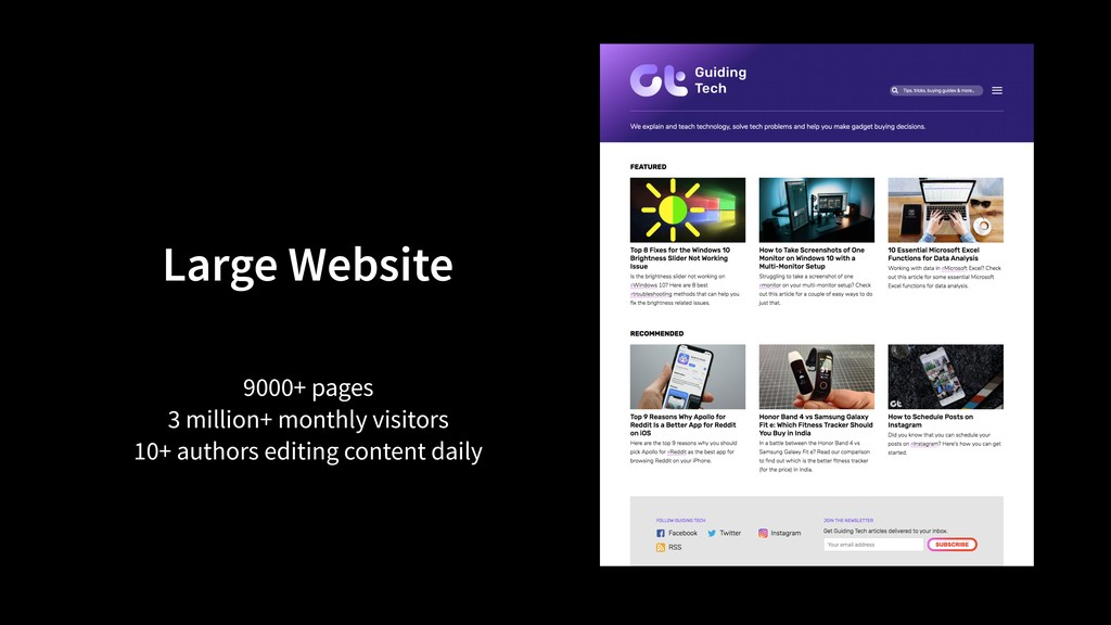 Large Website 9000+ pages 3 million+ monthly vi...