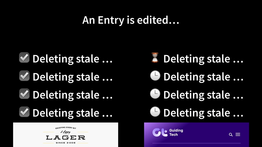 ☑ Deleting stale … An Entry is edited… ⏳ Deleti...
