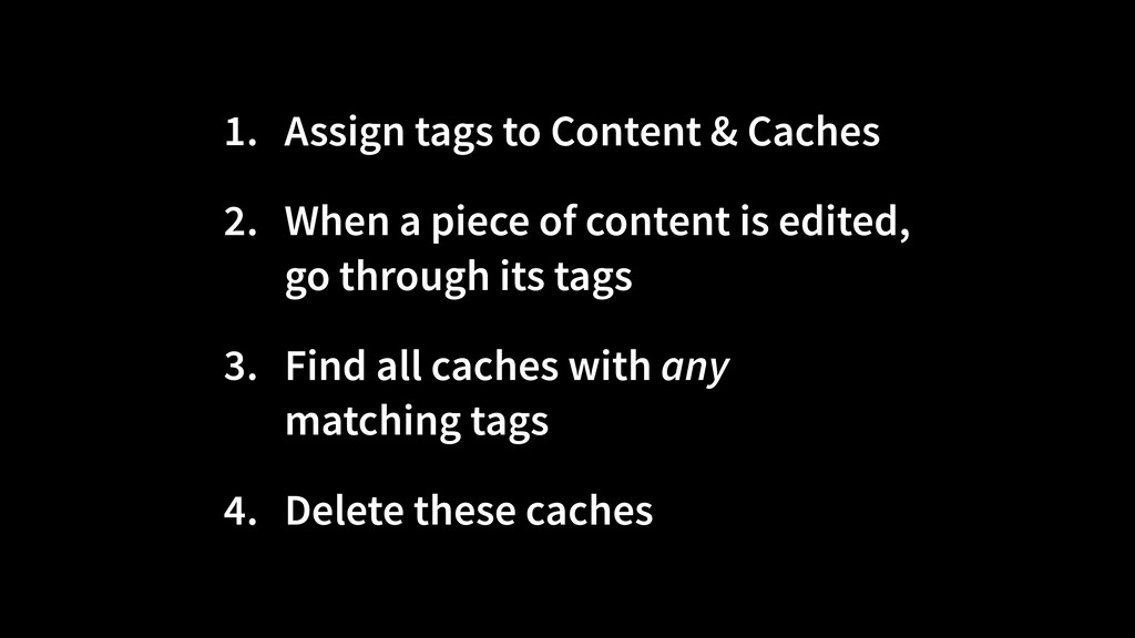 1. Assign tags to Content & Caches 2. When a pi...