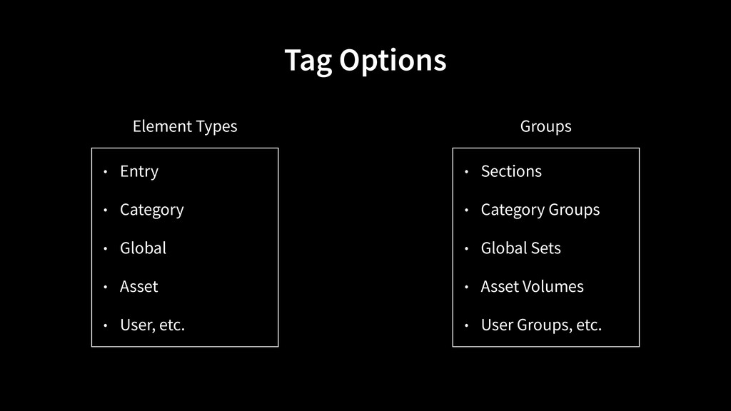 • Entry • Category • Global • Asset • User, etc...