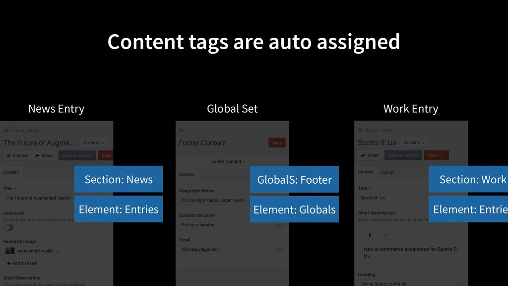 Content tags are auto assigned Element: Entries...