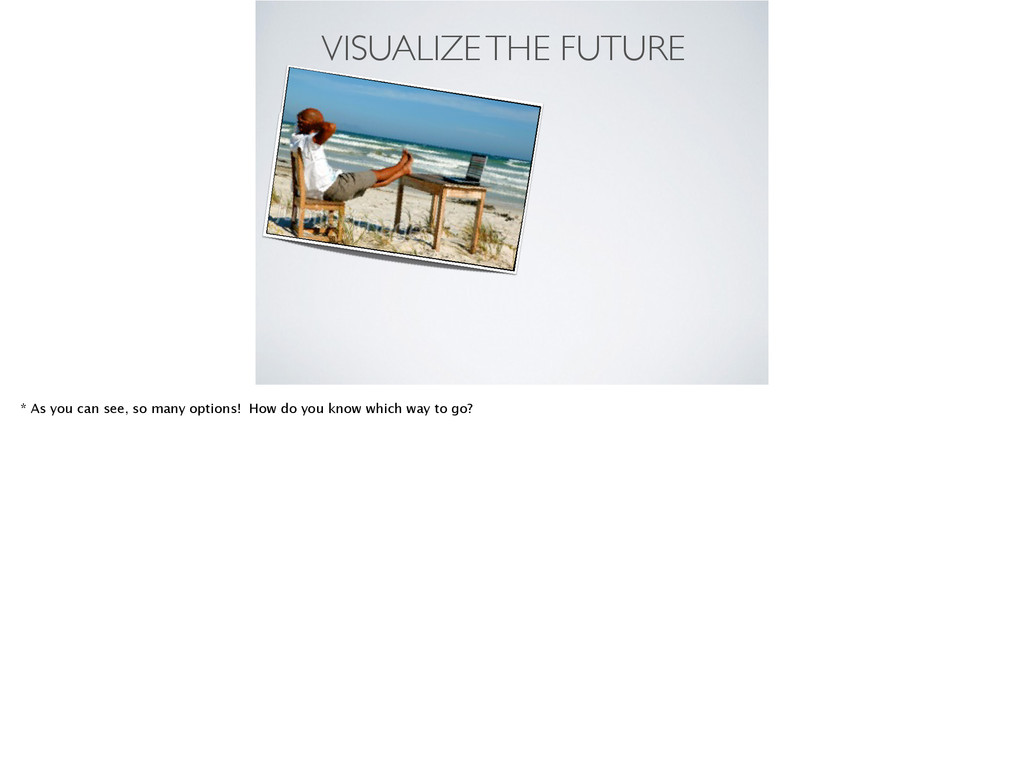 VISUALIZE THE FUTURE * As you can see, so many ...