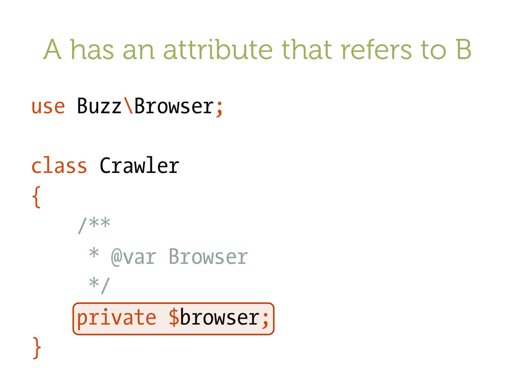 A has an attribute that refers to B use Buzz\Br...