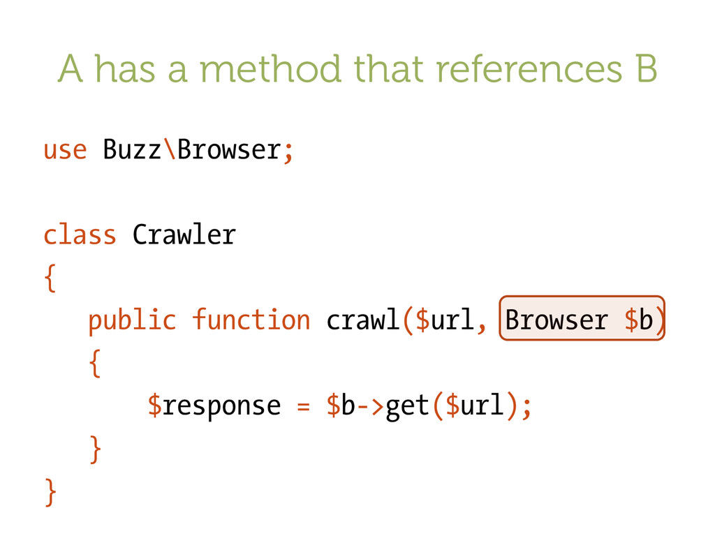 A has a method that references B use Buzz\Brows...