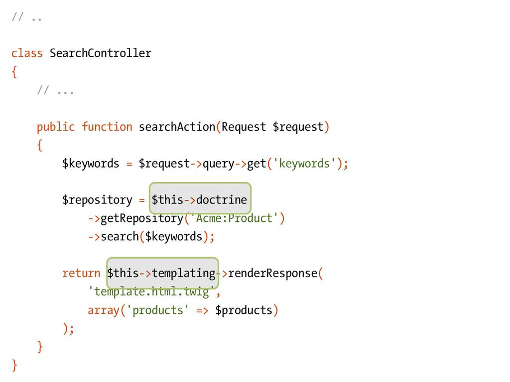 // .. class SearchController { // ... public fu...