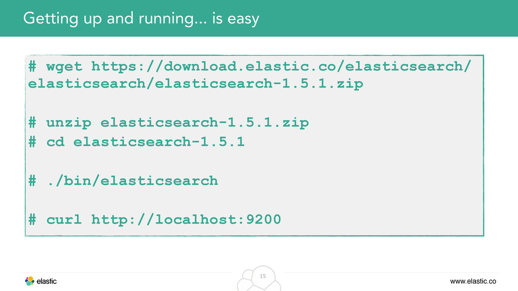www.elastic.co 15 Getting up and running... is ...