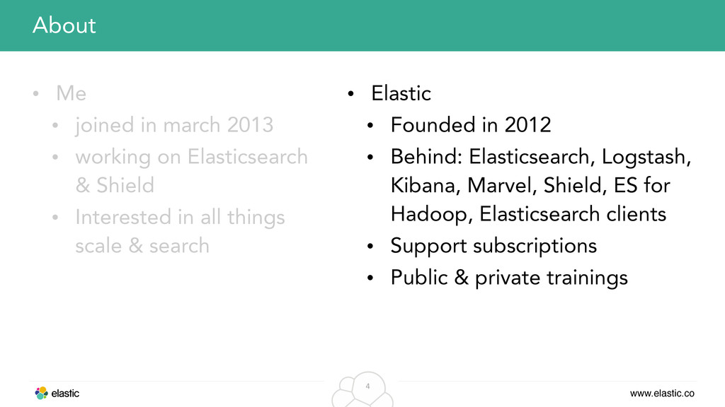 www.elastic.co 4 • Me • joined in march 2013 • ...