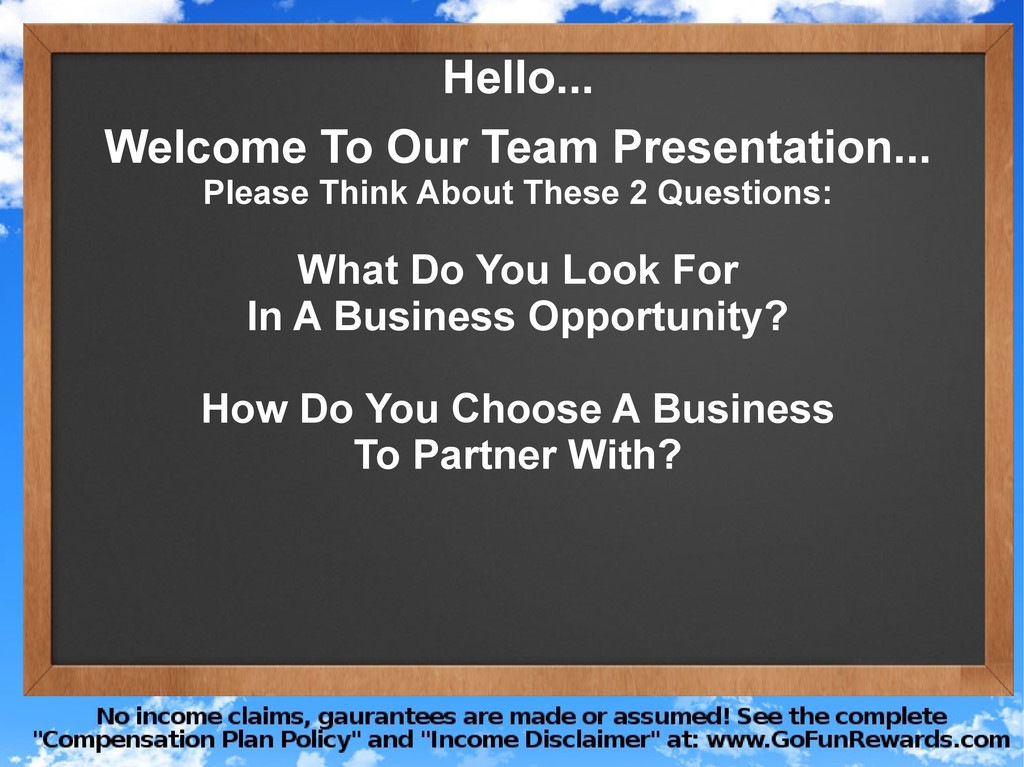 Hello... Welcome To Our Team Presentation... Pl...