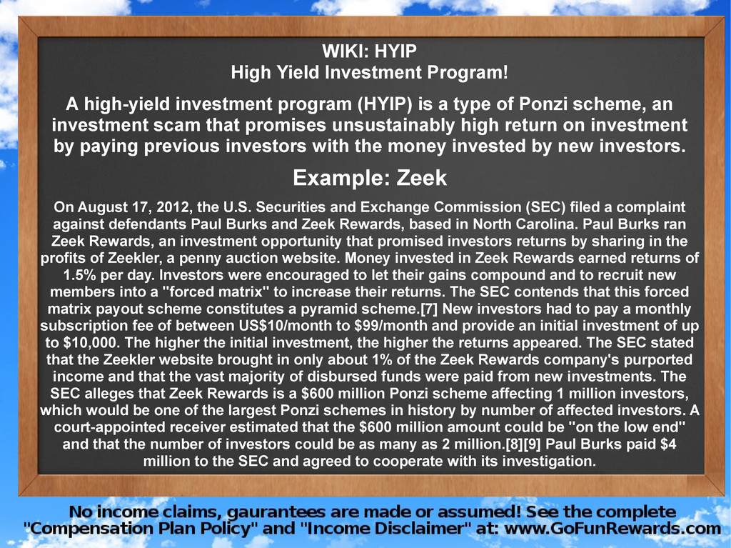 WIKI: HYIP High Yield Investment Program! A hig...