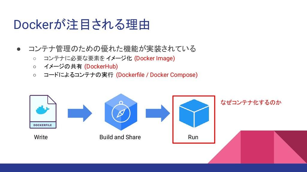 Dockerが注目される理由 ● コンテナ管理のための優れた機能が実装されている ○ コンテナ...