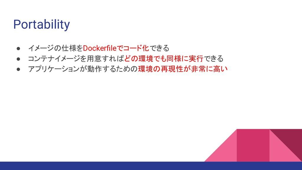 Portability ● イメージの仕様をDockerfileでコード化できる ● コンテナイ...