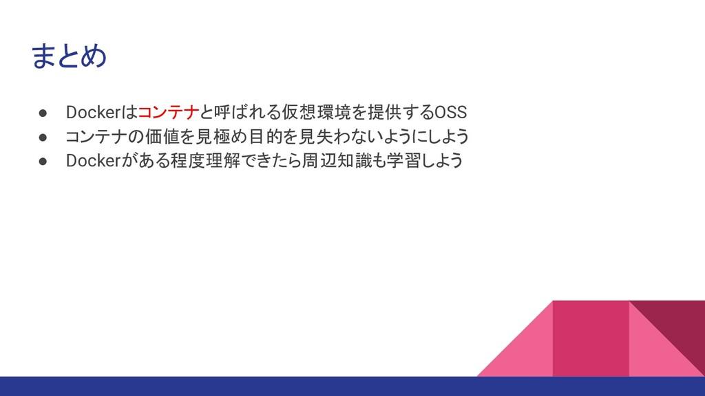 まとめ ● Dockerはコンテナと呼ばれる仮想環境を提供するOSS ● コンテナの価値を見極...