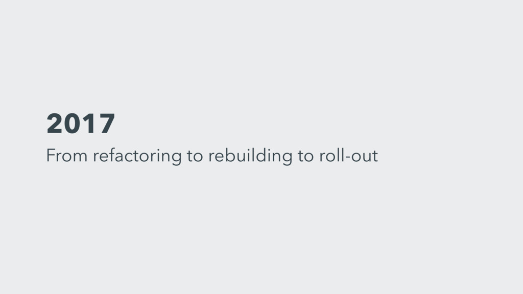 2017 From refactoring to rebuilding to roll-out
