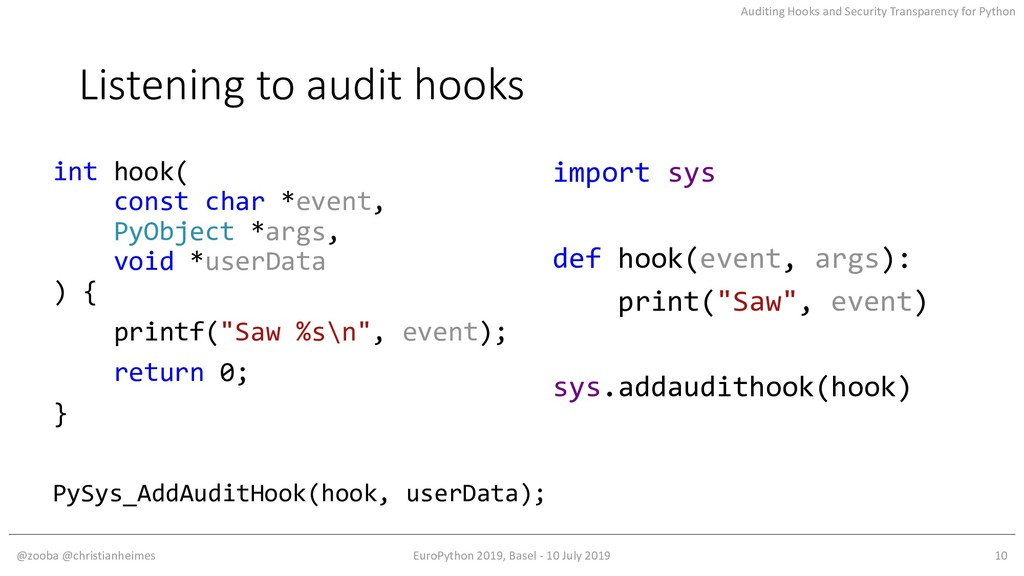 Auditing Hooks and Security Transparency for Py...
