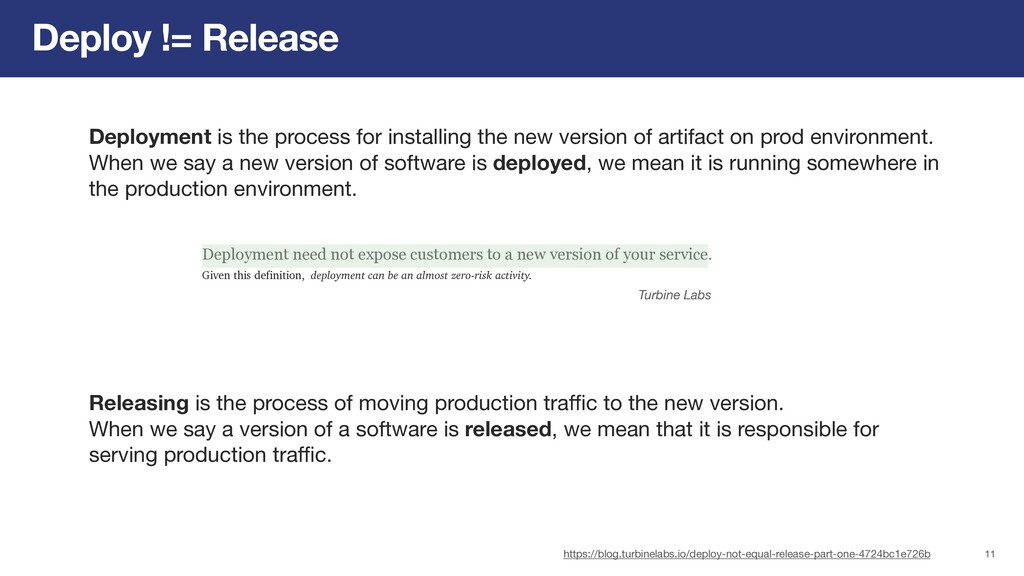 Deploy != Release Deployment is the process for...