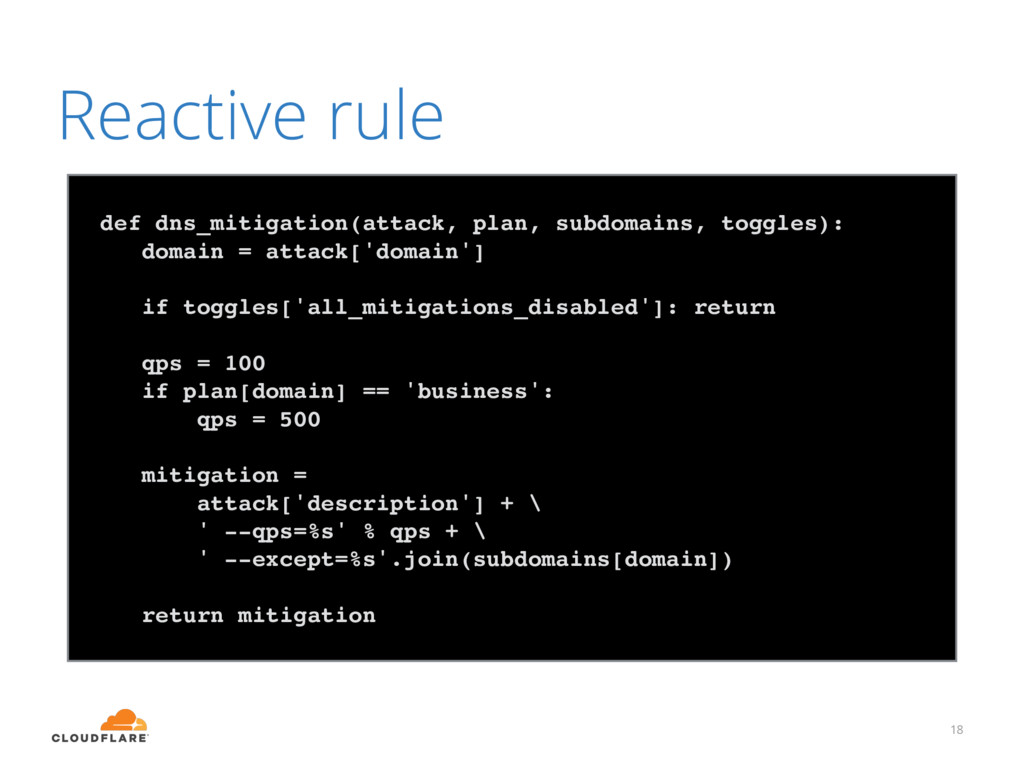 18 Reactive rule def dns_mitigation(attack, pla...