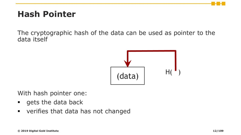 Hash Pointer The cryptographic hash of the data...