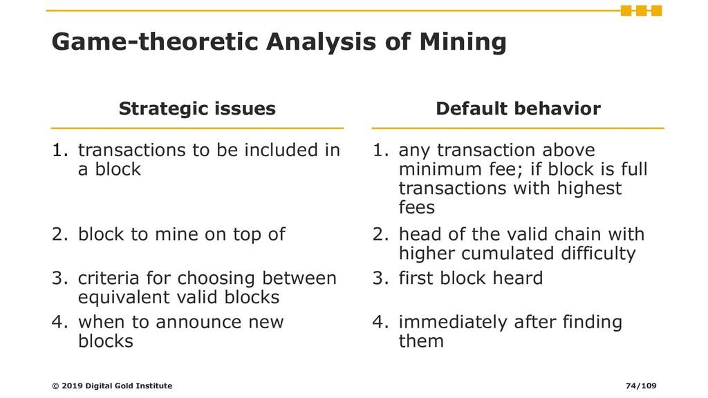 Game-theoretic Analysis of Mining Strategic iss...