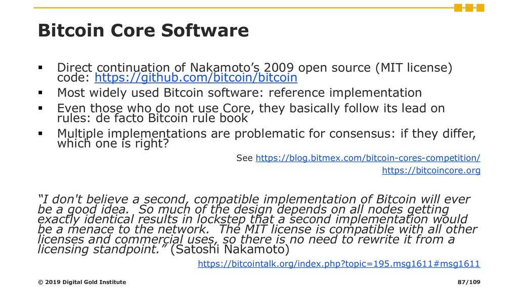 Bitcoin Core Software ▪ Direct continuation of ...