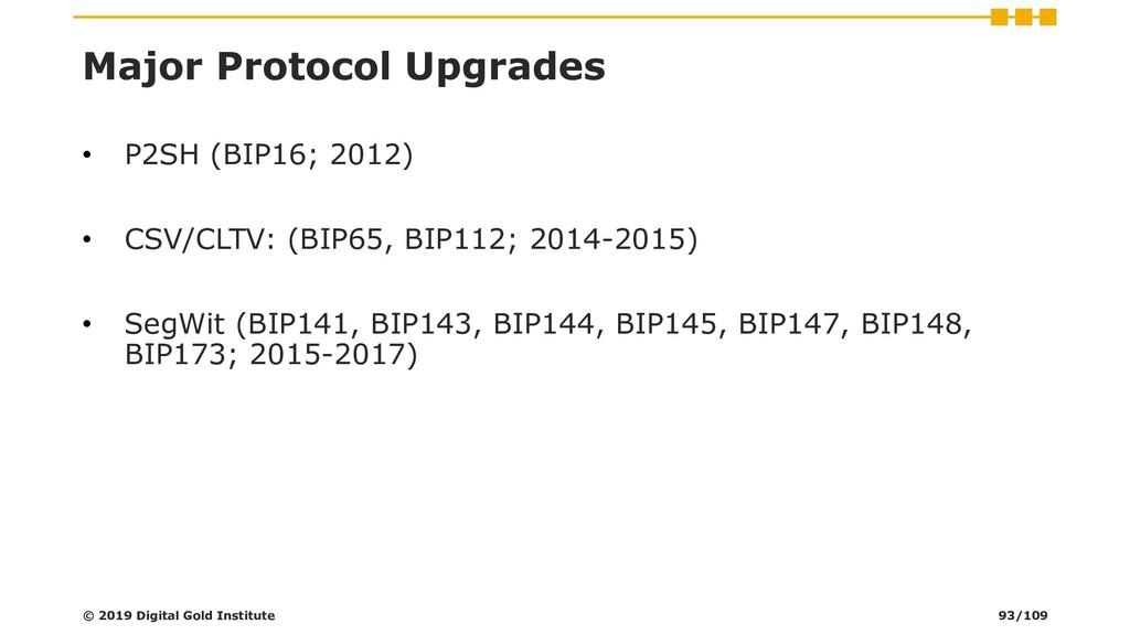 Major Protocol Upgrades • P2SH (BIP16; 2012) • ...