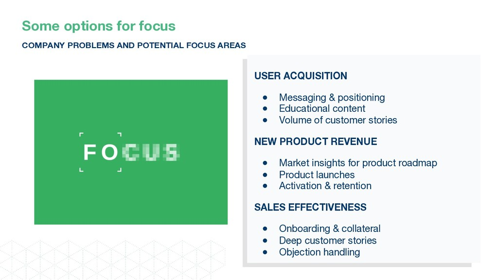 USER ACQUISITION ● Messaging & positioning ● Ed...