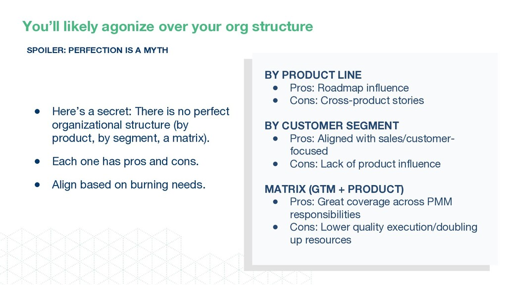 You'll likely agonize over your org structure S...