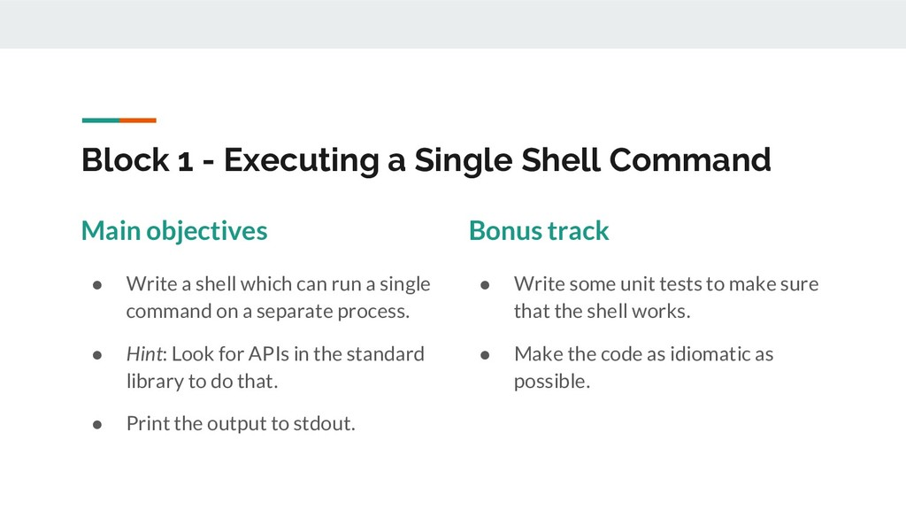 Block 1 - Executing a Single Shell Command Main...
