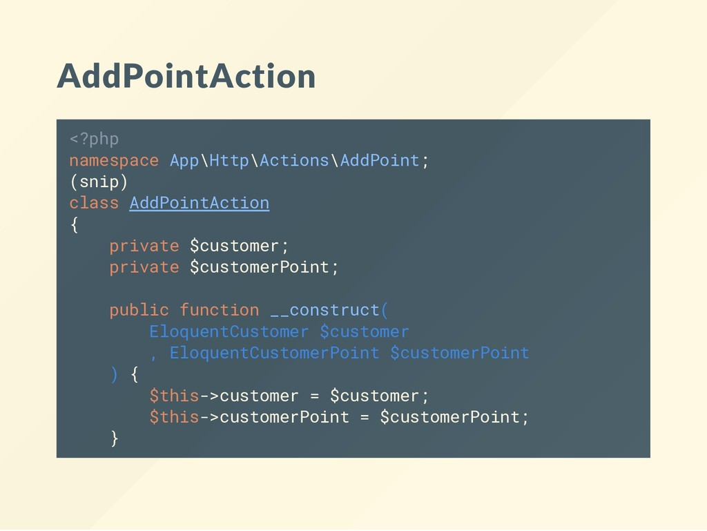AddPointAction <?php namespace App\Http\Actions...