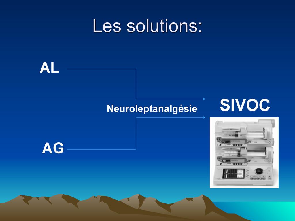 Les solutions: AL AG Neuroleptanalgésie SIVOC