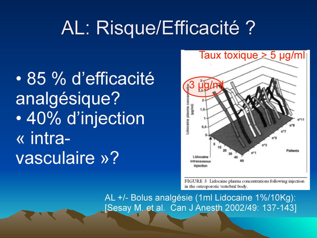 AL: Risque/Efficacité ? AL +/- Bolus analgésie ...
