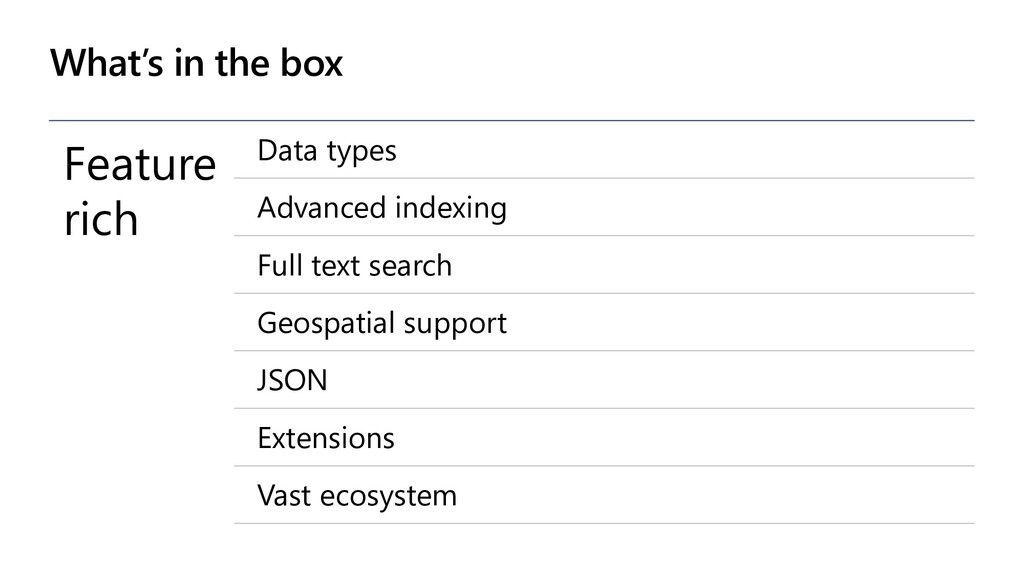What's in the box Feature rich Data types Advan...