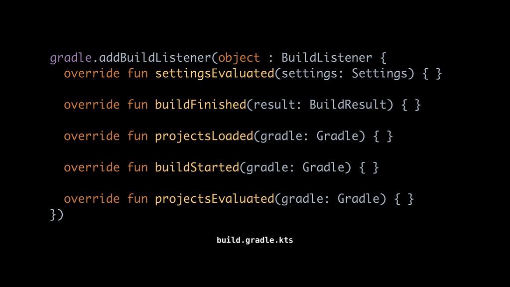 gradle.addBuildListener(object : BuildListener ...