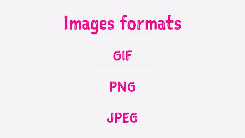 Images formats GIF PNG JPEG
