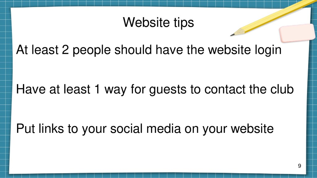 Website tips At least 2 people should have the ...