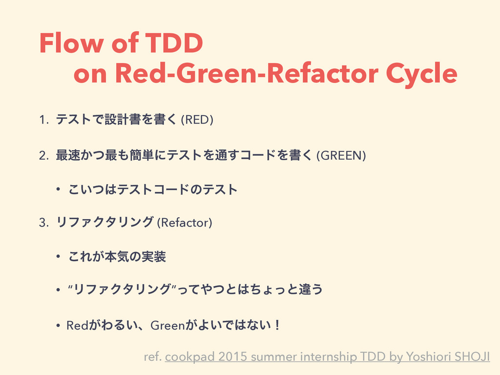 Flow of TDD on Red-Green-Refactor Cycle 1. ςετͰ...