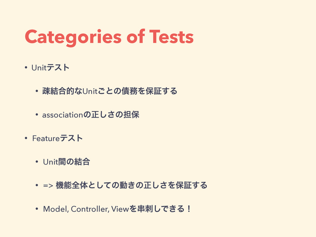 Categories of Tests • Unitςετ • ૄ݁߹తͳUnit͝ͱͷ࠴຿Λ...