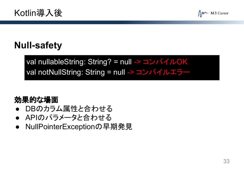 Kotlin導入後 33 Null-safety 効果的な場面 ● DBのカラム属性と合わせる...