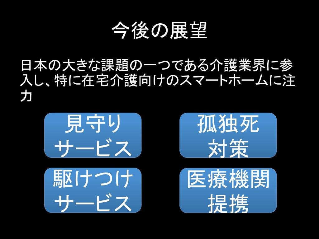 今後の展望 日本の大きな課題の一つである介護業界に参 入し、特に在宅介護向けのスマートホームに...